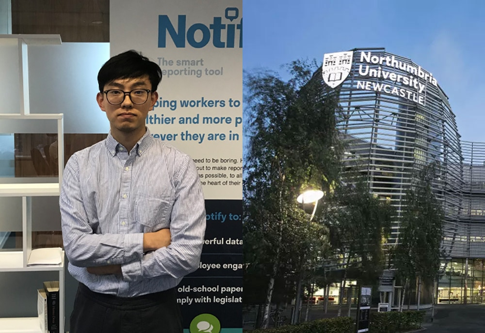 left image Ping standing in front of a Notify banner right image is of Northumbria University in Newcastle