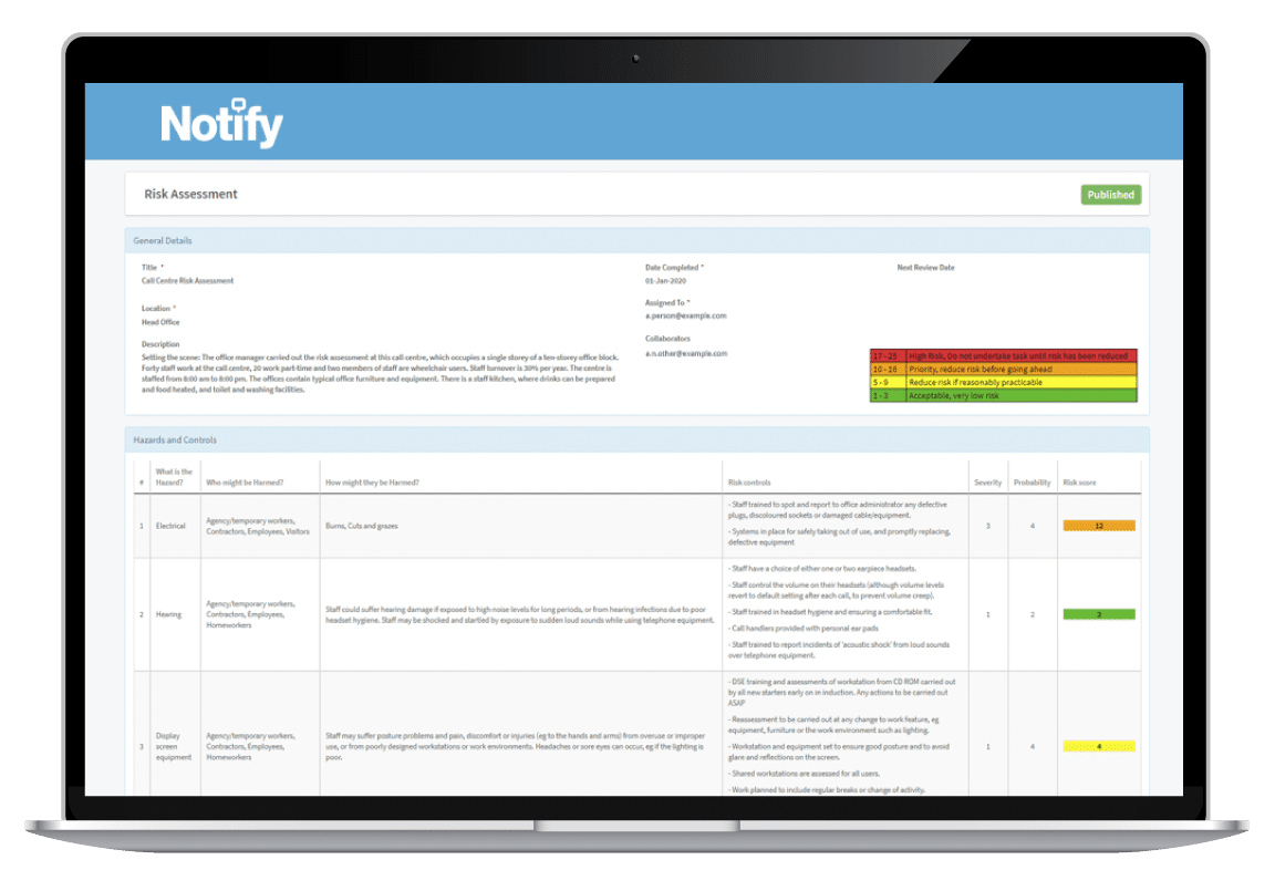 laptop showing the risk accessment publication details with Notify