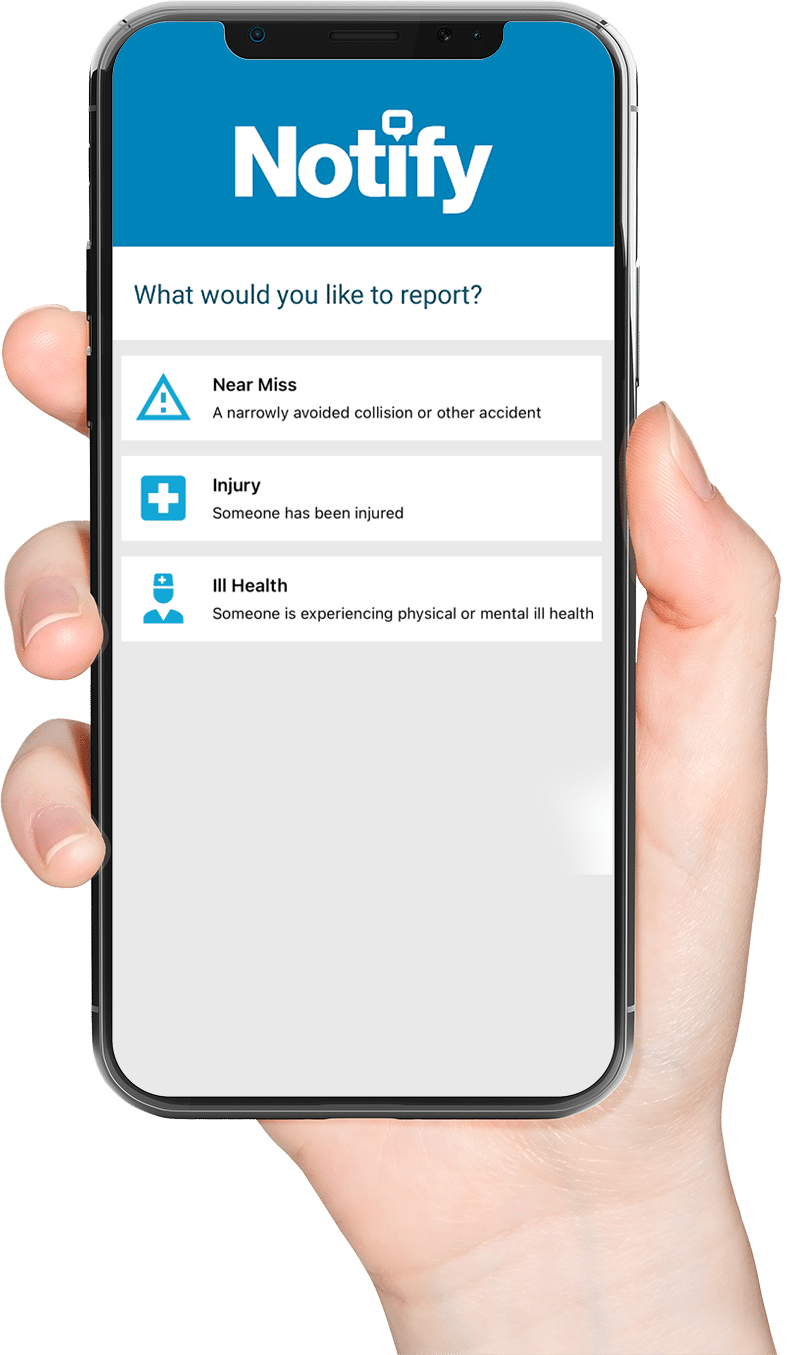 Photo of a hand holding a phone showing the Notify near-miss reporting app