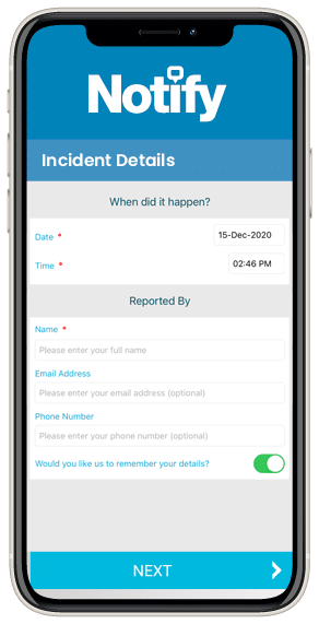 The Notify near-miss reporting app showing a screen with near-miss details
