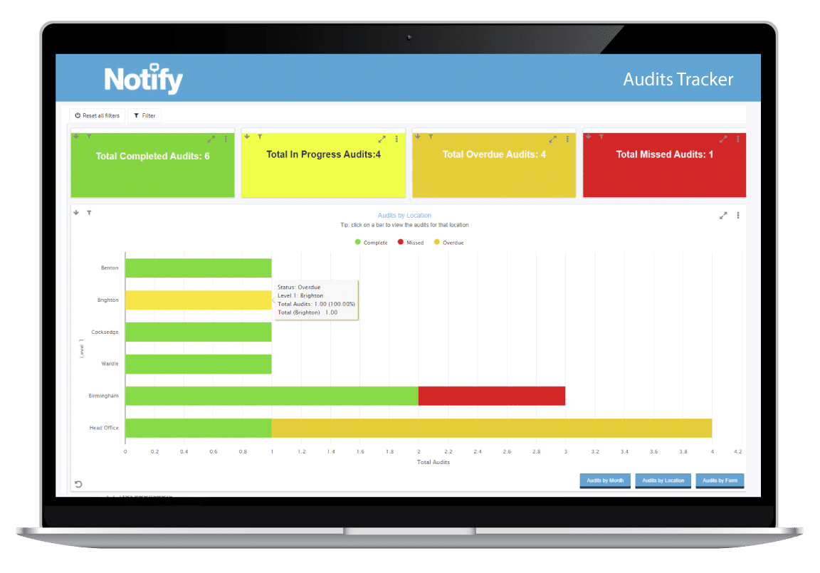laptop displaying the page within Notify that allows you to build your own forms